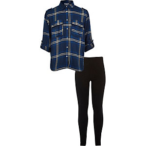 Girls blue check shirt leggings set