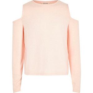 Girls pink pearl trim cold shoulder top