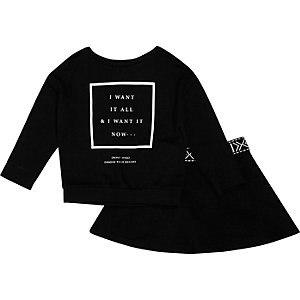 Mini girls black print sweatshirt and skirt