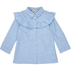 Mini girls blue frill trim shirt