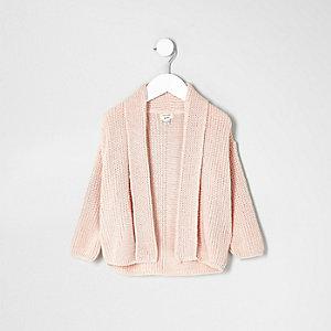 Mini girls pink chunky knit open cardigan