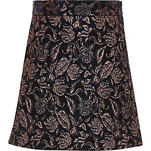 Girls navy print A-line skirt
