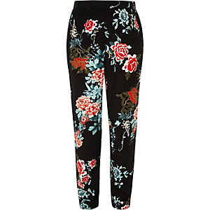 Girls floral print tapered trousers