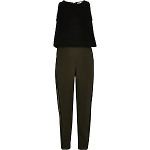 Girls khaki black block jumpsuit