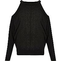 Girls black cold shoulder batwing top