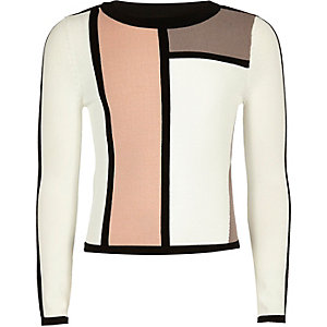 Girls white colour block jumper