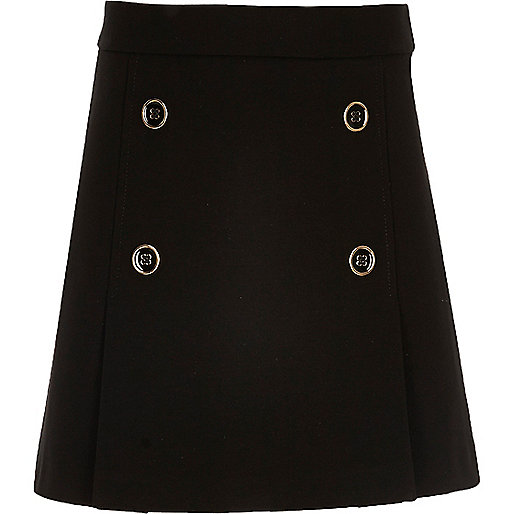 Girls black military A-line skirt