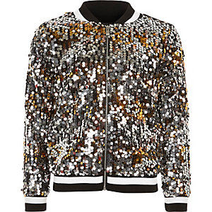 Girls black disco sequin bomber jacket