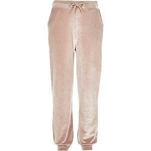 Girls oyster pink velvet joggers