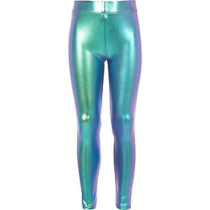 Girls pink holographic leggings