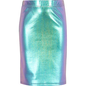 Girls pink holographic tube skirt