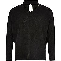 Girls black slouch knit choker sweater