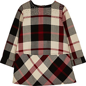 Mini girls red check stud dress