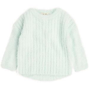 Mini girls green fluffy knit jumper