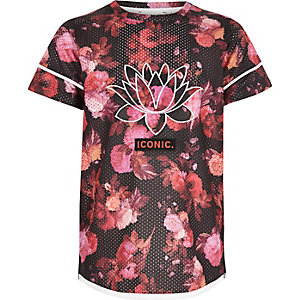 Girls pink floral mesh sports T-shirt