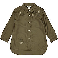 Mini girls khaki star embellished shirt