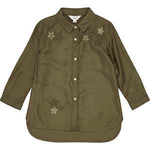 Mini girls khaki star embellished shirt
