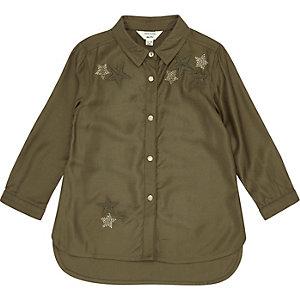 Chemise kaki ornée motif étoiles mini fille