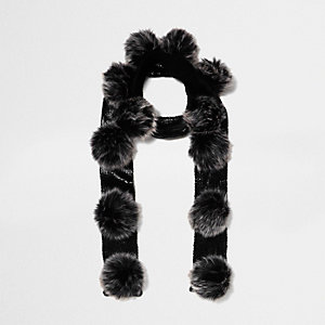 Girls black metallic knit pom pom scarf