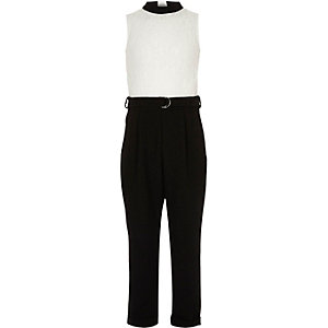 Girls black and white lace block jumpsuit