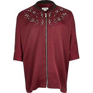 Girls dark red stud zip shirt
