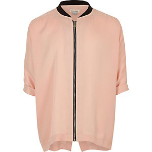 Girls pink zip bomber shirt