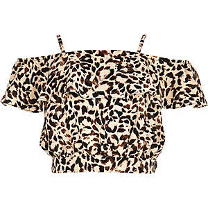 Girls leopard print bardot ruffle crop top