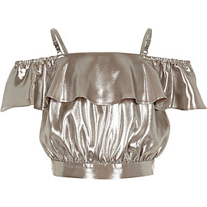 Girls silver metallic bardot ruffle crop top