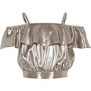 Crop top argenté métallisé style bardot à fronces pour fille