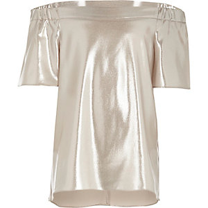 Girls metallic pink bardot top