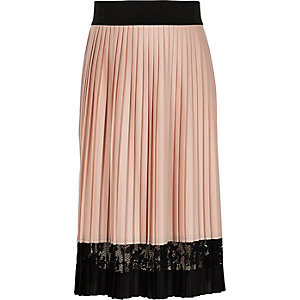 Girls pink pleated lace panel midi skirt