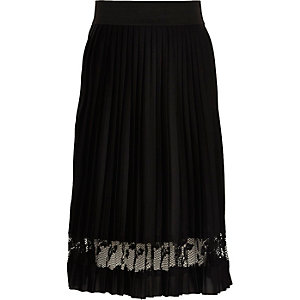 Girls black pleated lace panel midi skirt