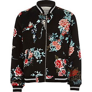 Girls black oriental floral bomber jacket