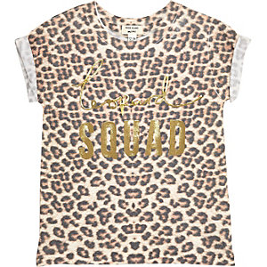 Mini girls leopard metallic print T-shirt