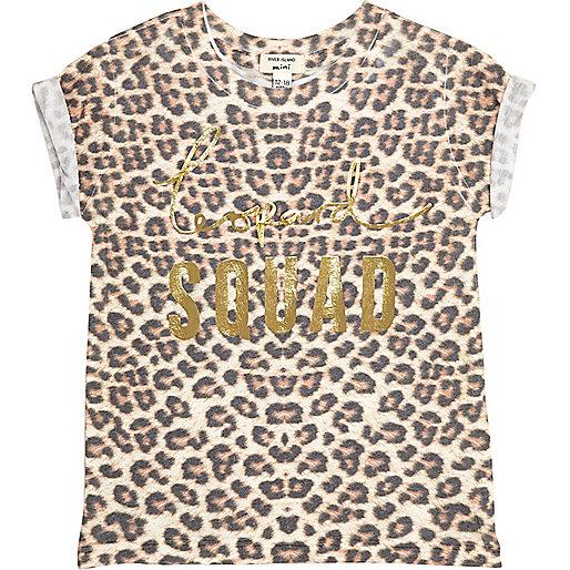 T-shirt imprimé léopard métallisé «Squad» Mini fille
