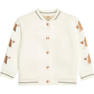 Mini girls cream quilted star bomber jacket