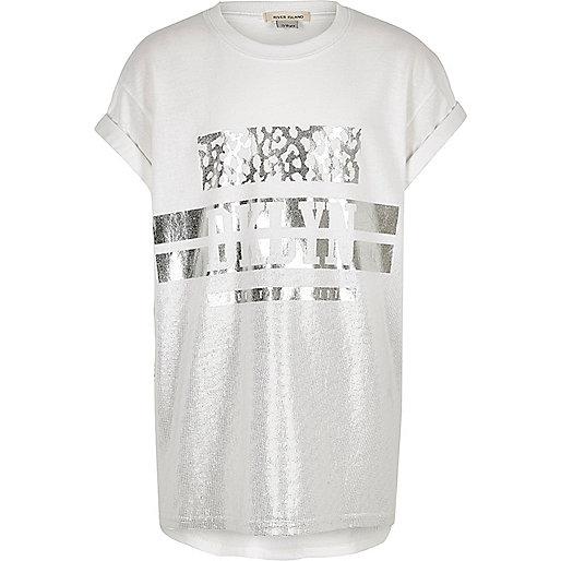 Girls silver metallic print relaxed T-shirt