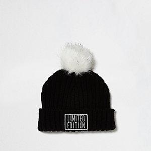 Mini girls black 'Limited Edition' bobble hat