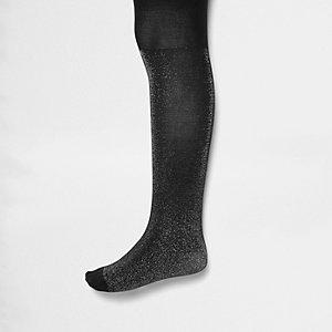 Mini girls black sparkly tights