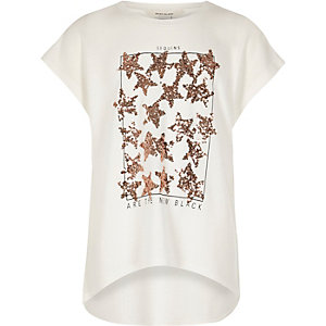 Girls cream sequin star T-shirt