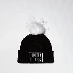 Bonnet noir Limited Edition à pompon pour fille