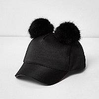 Mini girls black satin pom pom cap
