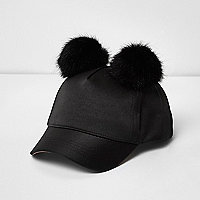 Mini girls black satin pom pom cap