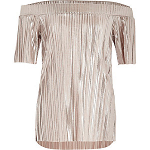 Girls silver metallic pleated bardot top