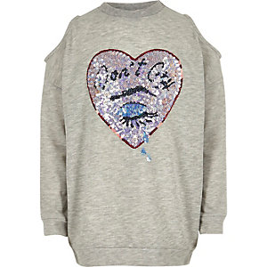 Girls grey sequin cold shoulder sweatshirt