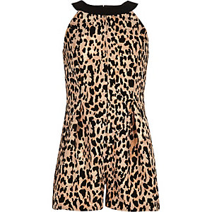 Girls brown leopard print romper