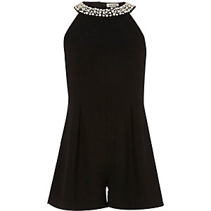 Girls black embellished neck playsuit