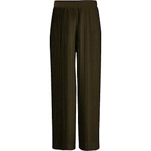 Pantalon large vert kaki à pinces pour fille