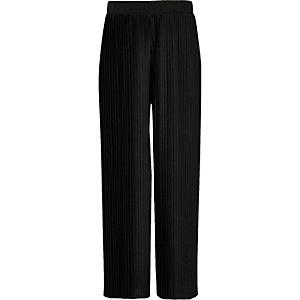 Girls black pleated wide leg trousers