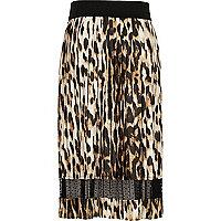 Jupe mi-longue à empiècement en dentelle imprimé léopard